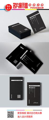 黑色竖版名片设计