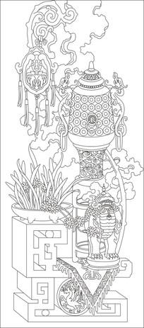 花瓶立体中式玄关雕刻图案