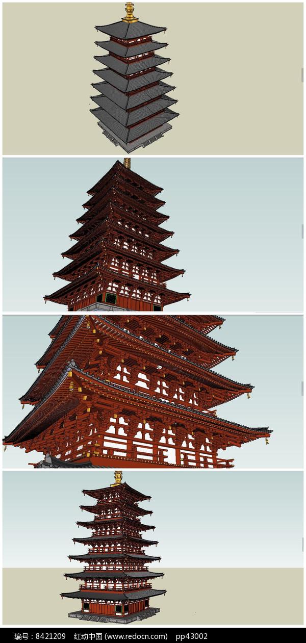精细风格七层古塔SU模型图片