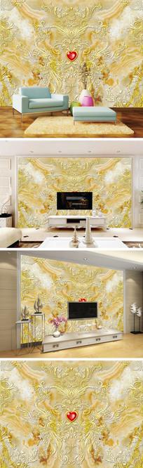 金色花纹花边大理石纹背景墙