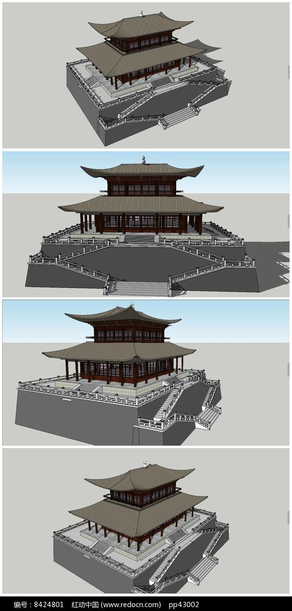 聚义楼古建筑SU模型图片