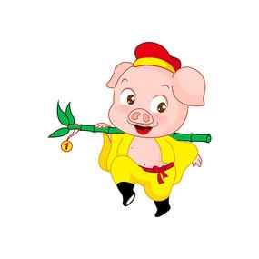 扛着竹子的猪八戒卡通形象图片