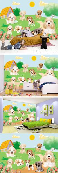 卡通小狗小屋背景墙