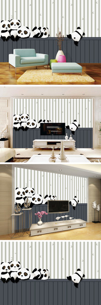 卡通竹林熊猫背景墙