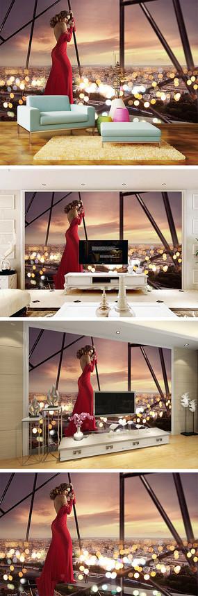 梦幻美女城市夜景背景墙