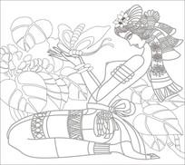 苗族少女雕刻图案
