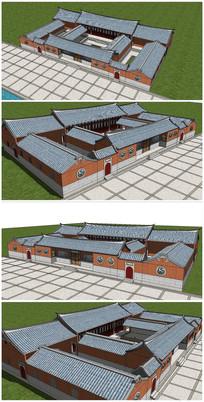 闽南风格中式建筑合院SU模型