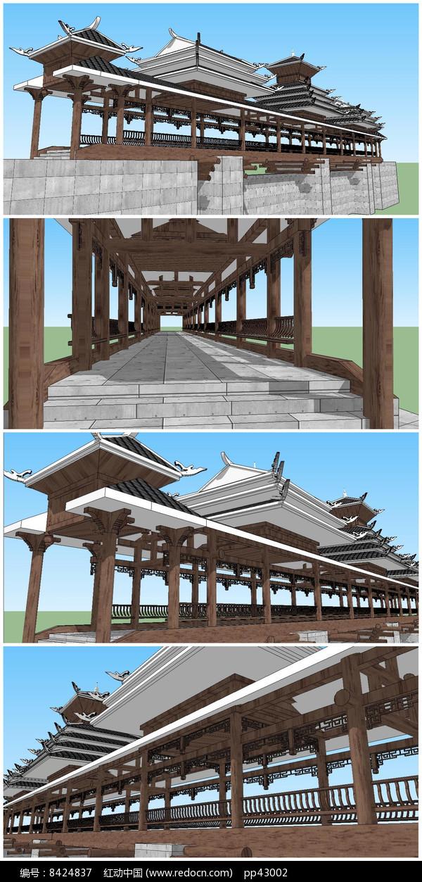 民族风格特色风雨桥SU模型图片