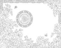 牡丹花纹雕刻图案