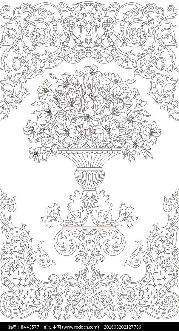 欧式花瓶花纹雕刻图案