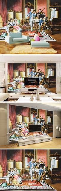 欧式油画赏音乐背景墙