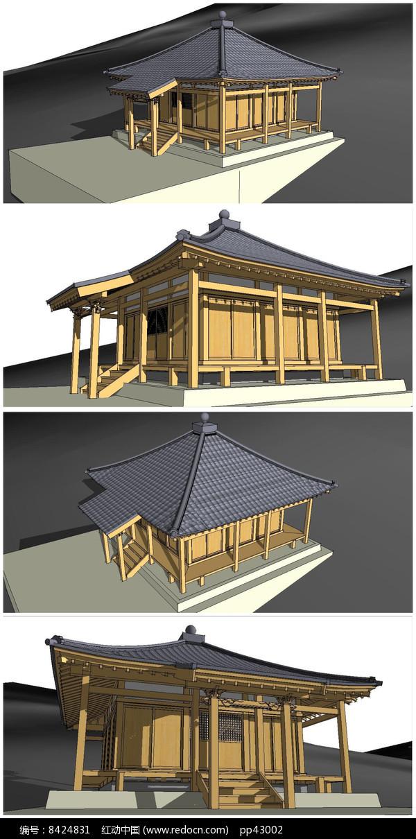 日本寺庙SU模型图片