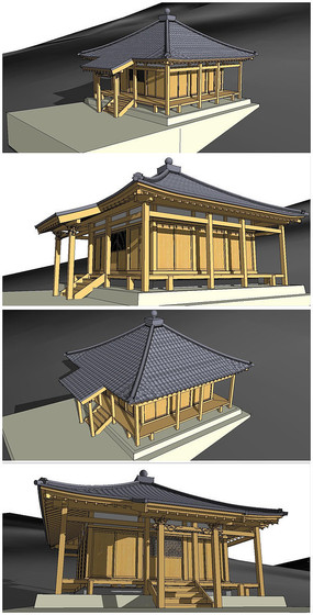 日本寺庙SU模型