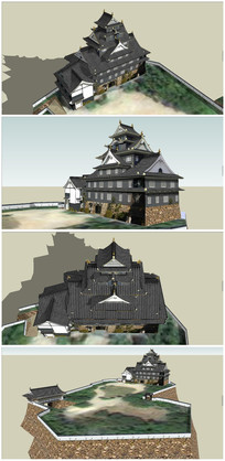 日本战国时代古代城堡SU模型