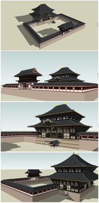日式古典宫殿SU模型