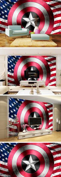 现代简约国旗五角星背景墙