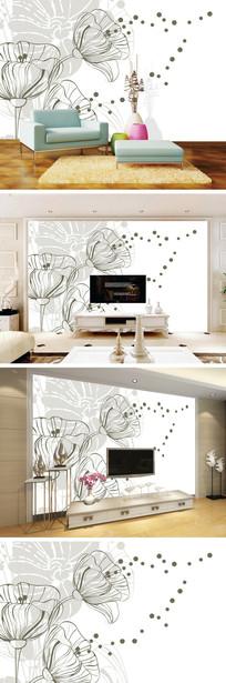 现代简约线条郁金香背景墙
