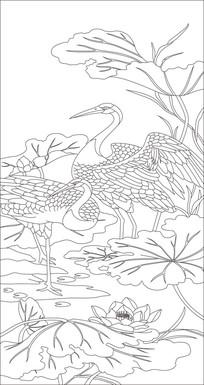 仙鹤荷花玄关雕刻图案