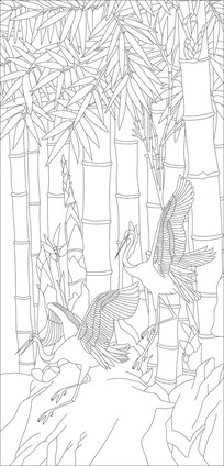 仙鹤竹子雕刻图案
