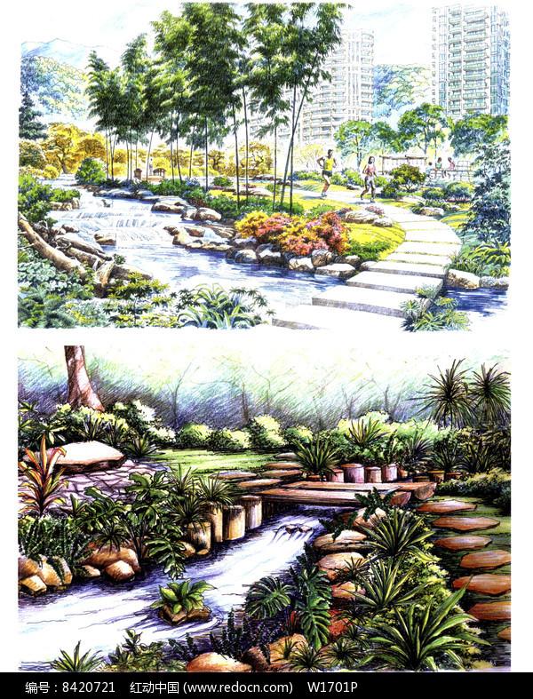 溪流景观效果图图片