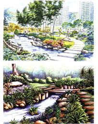 溪流景观效果图