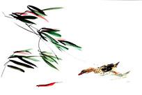 鱼戏鸭图国画设计用素材
