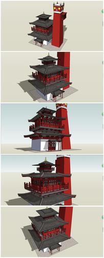 中式传统古典春风阁SU模型