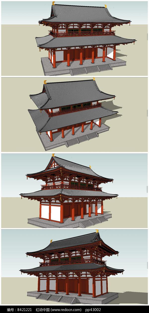 中式仿古建筑楼堂殿阁SU模型图片
