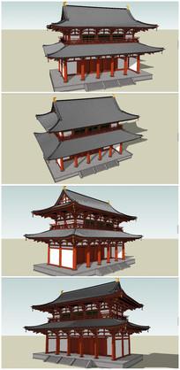 中式仿古建筑楼堂殿阁SU模型