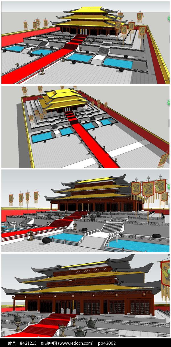 中式风格宫殿SU模型图片