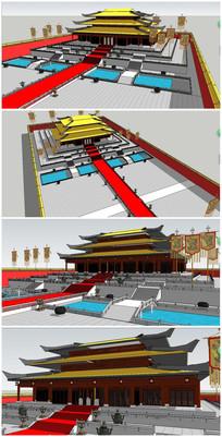 中式风格宫殿SU模型