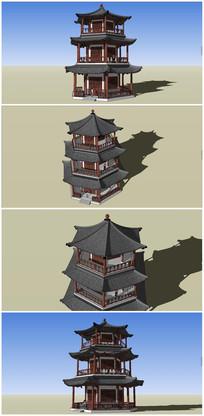 中式风格六角阁楼SU模型