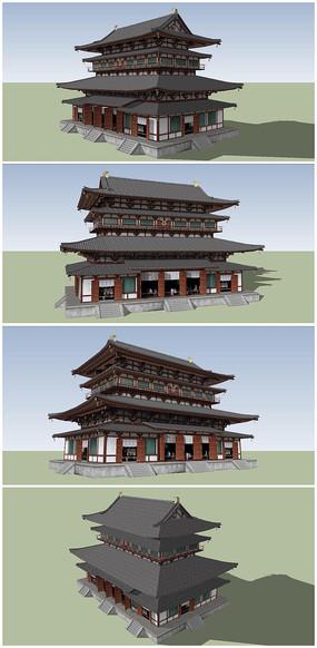 中式古典建筑风格鼓楼SU模型 skp