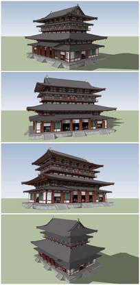 中式古典建筑风格鼓楼SU模型