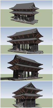 中式古典建筑门楼SU模型 skp