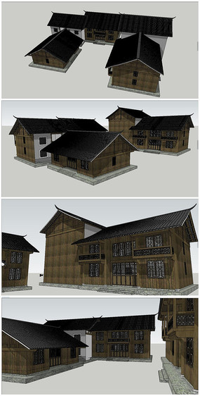 中式古典木制別墅SU模型 skp