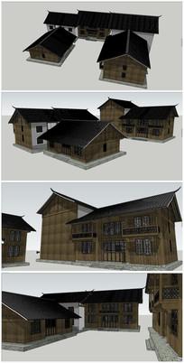 中式古典木制别墅SU模型