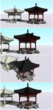 中式古建亭子SU模型