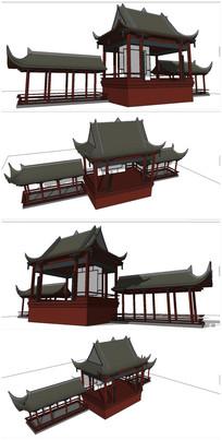中式古建戏台SU模型