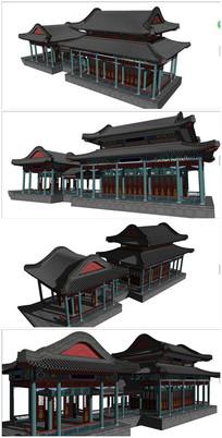 中式古建筑画舫精细模型 skp