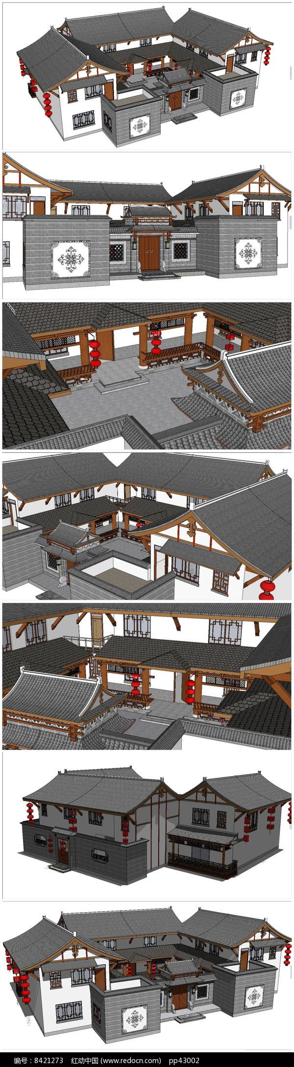 中式民居四合院SU模型图片