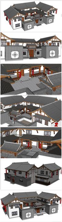 中式民居四合院SU模型