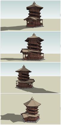 中式民族古塔SU模型 skp