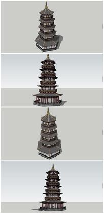 中式五层宝塔SU模型