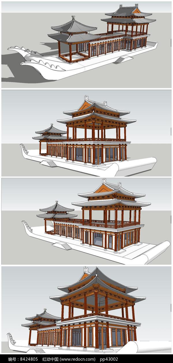 中式游船画舫古建筑SU模型图片