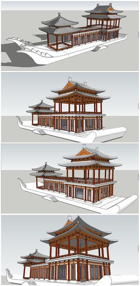 中式游船画舫古建筑SU模型
