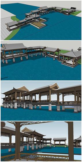 中式园林及廊桥规划SU模型 skp