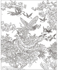 凤凰白鸟玻璃雕刻图案