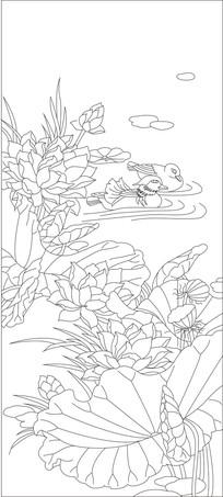 荷花鸳鸯雕刻图案