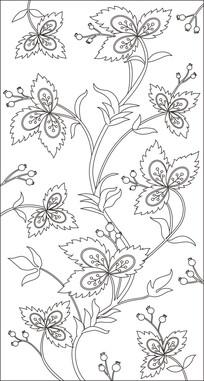 花草叶子玻璃雕刻图案